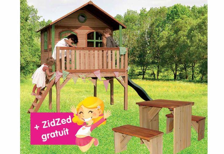 Maison Enfant Bois Sophie + Table de Pique-NiqueZidZed