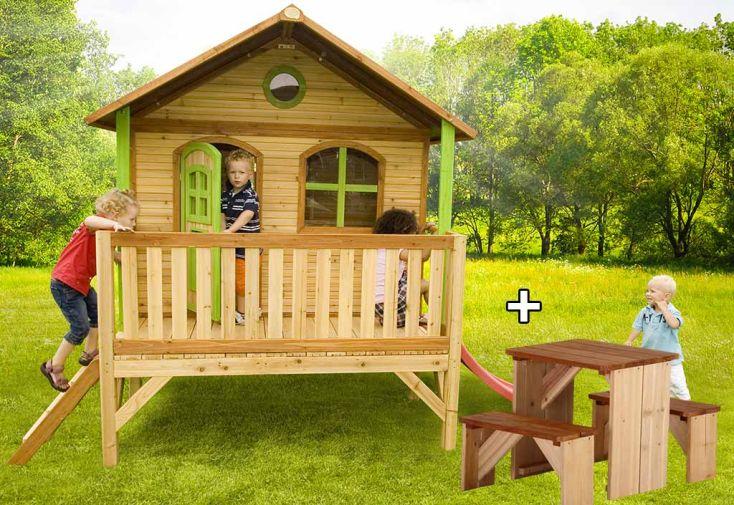 Maison Enfant Bois Stef + Table de Pique-NiqueZidZed