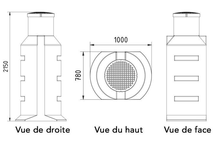 cuve de récupération d'eau à enterrer 900L puits en polyéthylène
