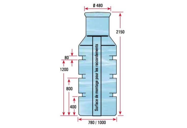 dimensions puits à enterrer cuve polyéthylène 900L
