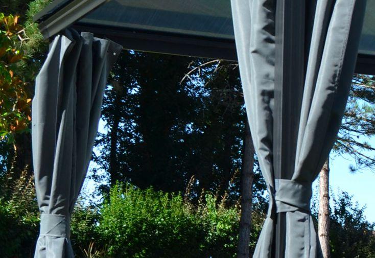 4 rideaux en polyester gris pour pergola bioclimatique Maïa