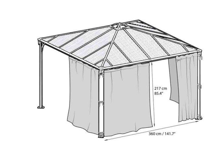 Set 4 Rideaux pour Tonnelles Design Aluminium 300 et 360