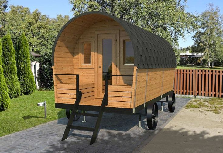 Roulotte en Bois Aménagée 28 mm Camping Western 9 m²