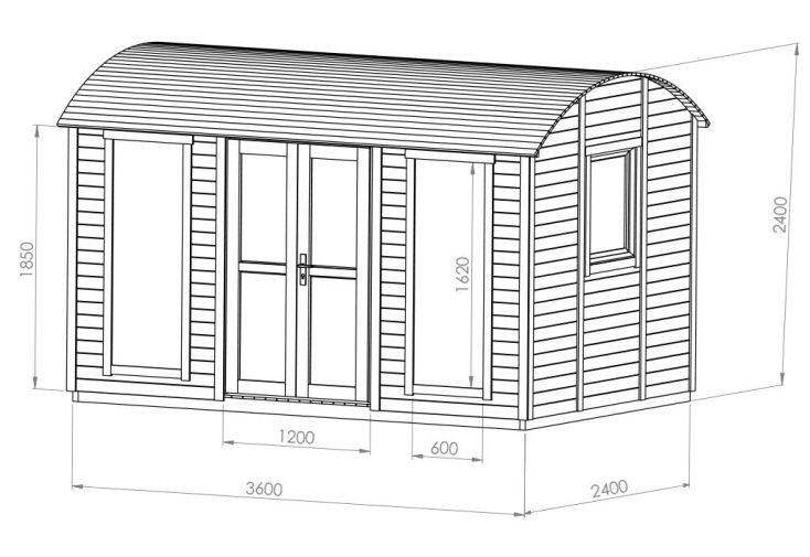 Schéma avec les dimensions de la roulotte en bois