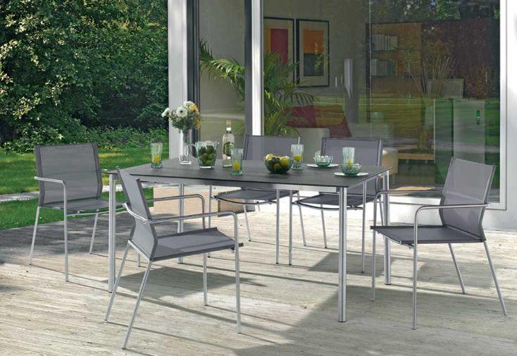 Salon de jardin inox avec table superstone 6 chaises for Peindre mon salon de jardin en plastique