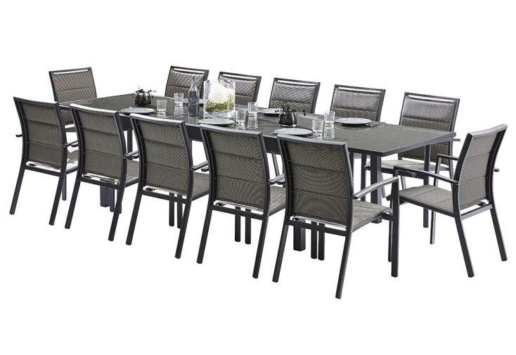 Salon de jardin modulotex table extensible 12 fauteuils wilsa for Avis table de jardin alu fibre de ciment