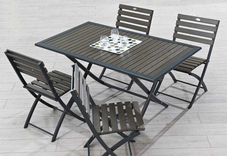Salon de Jardin en Bois Composite Marron Foncé : Table 140x80cm + 4 Chaises