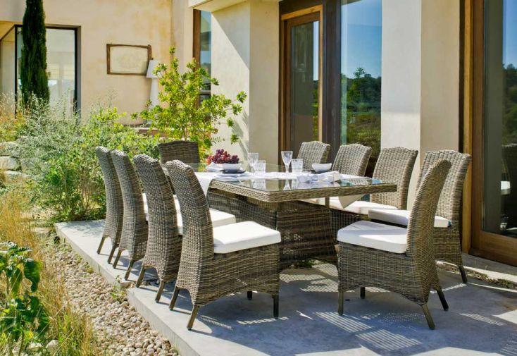 Salon de Jardin en Résine Tressée Borsalino Table + 10 Chaises