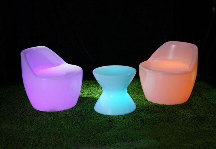 Salon de Jardin Lumineux 2 Fauteuils + Table-Basse