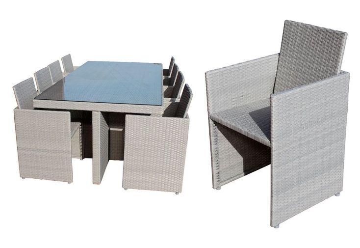 Salon de Jardin en Résine Tressée Encastrable Gris : 1 Table + 8 Fts