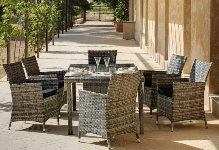 Salon de Jardin en Résine Tressée Oman : Table + 4 Fauteuils avec Coussins