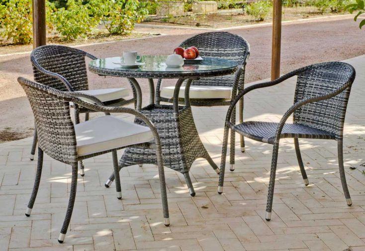 Salon de Jardin en Résine Tressée Tulus : Table + 4 Fts avec Coussins