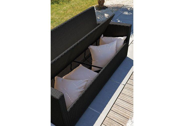 Salon de jardin en Résine Tressée : 1 Canapé + 2 Fts + 1 Table ...