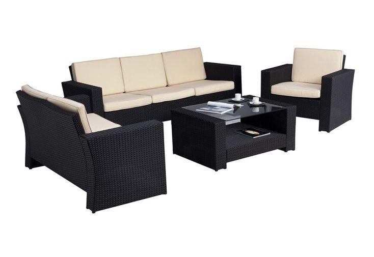 Salon de Jardin en Résine Tressée Confort : 1 Sofa 3 Pl. + 2 Fts + 1 Table