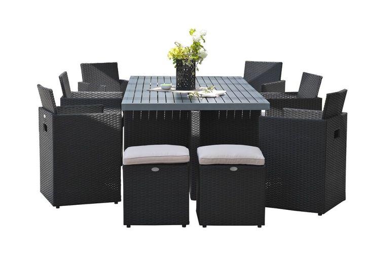 Salon de jardin encastrable 1 table 6 fauteuils 4 poufs dcb garden - Table fauteuil encastrable ...