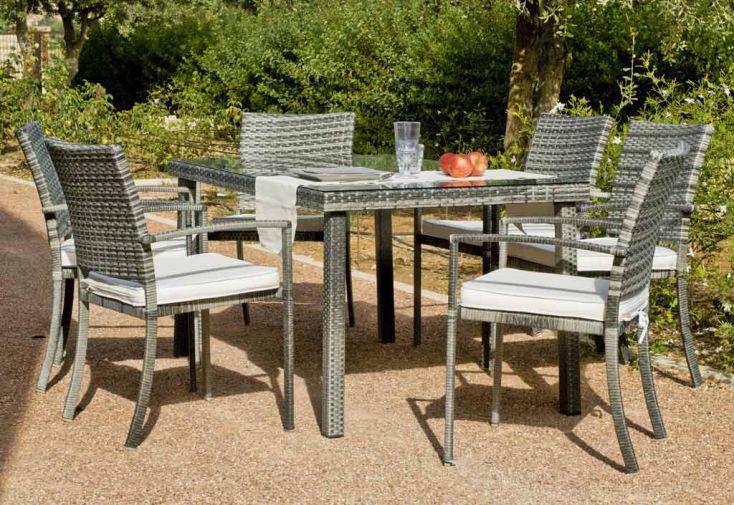 Salon de jardin r sine tress e grise maracaibo 1 table 150cm 6 fts salon de jardin r sine for Goa salon de jardin en resine tressee gris