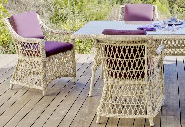 Salon de Jardin en Résine Tressée Atlanta Table + 6 Fauteuils