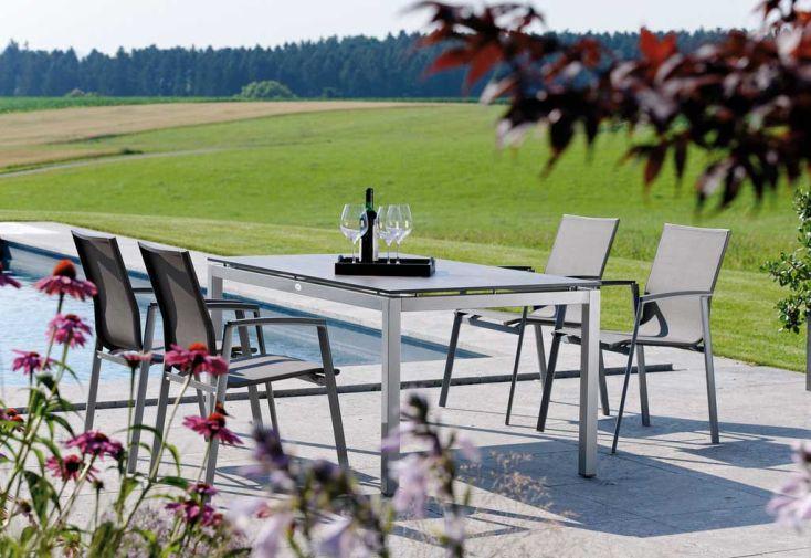 Salon de Jardin Alu Top Table (200x100) + 8 Fauteuils
