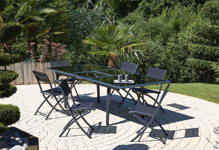 Salon de Jardin en Aluminium Noir Mat Table à Rallonge + 6 Chaises