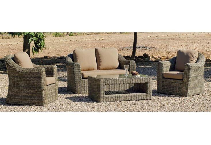 Salon de Jardin avec Table Basse, Canapé et 2 Fauteuils Coloris Osier