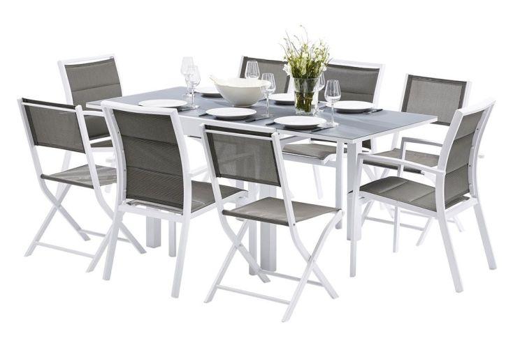 ensemble salon de jardin modulo table + 4 fauteuils + 4 chaises