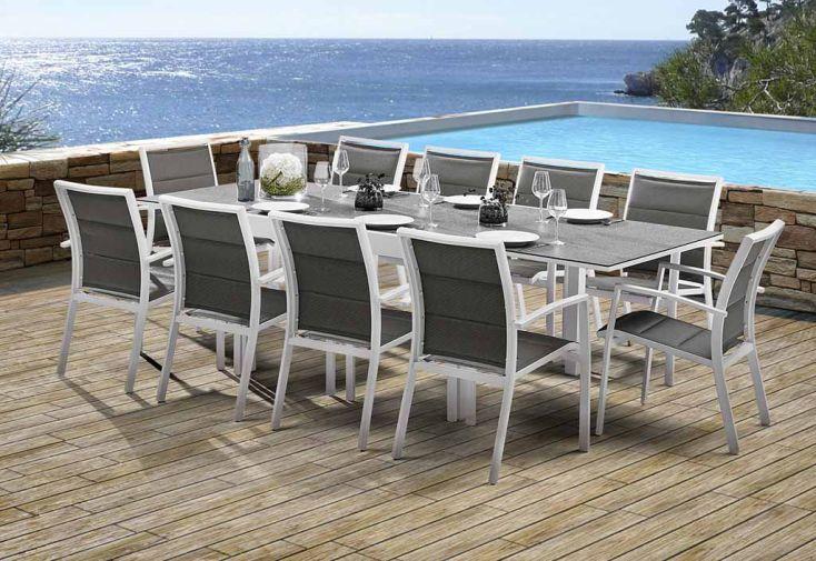 Salon de jardin Modulo Stone: Table Extensible + 10 Fauteuils