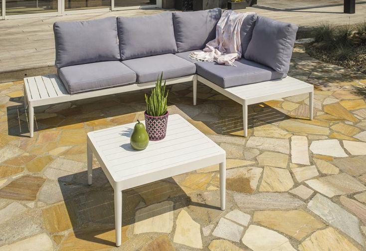 Salon de Jardin 4 Places en Aluminium DCB Garden Ankara Blanc