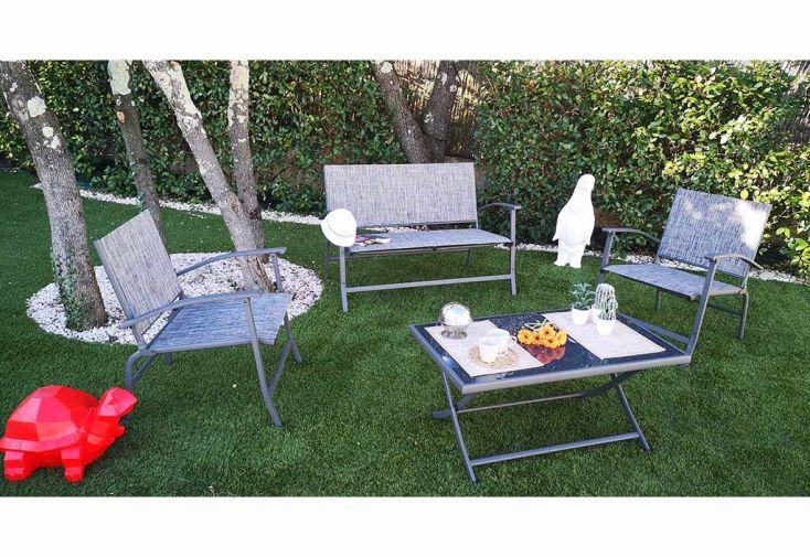 Salon de jardin 4 places pliant en acier et textilène Givex Spring