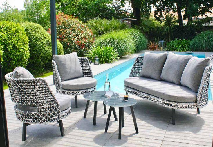 Salon de Jardin 4 Places en Aluminium et Résine Tressée DCB Garden Agadir