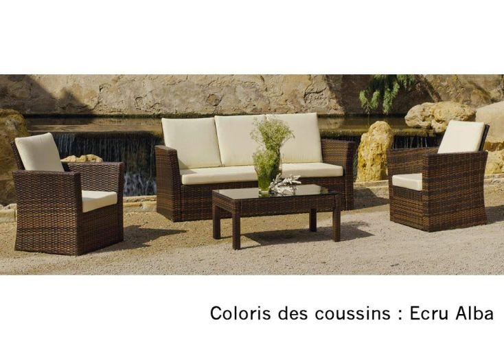 Salon de Jardin en Résine Tressée Marron : Canapé, Fauteuils et ...