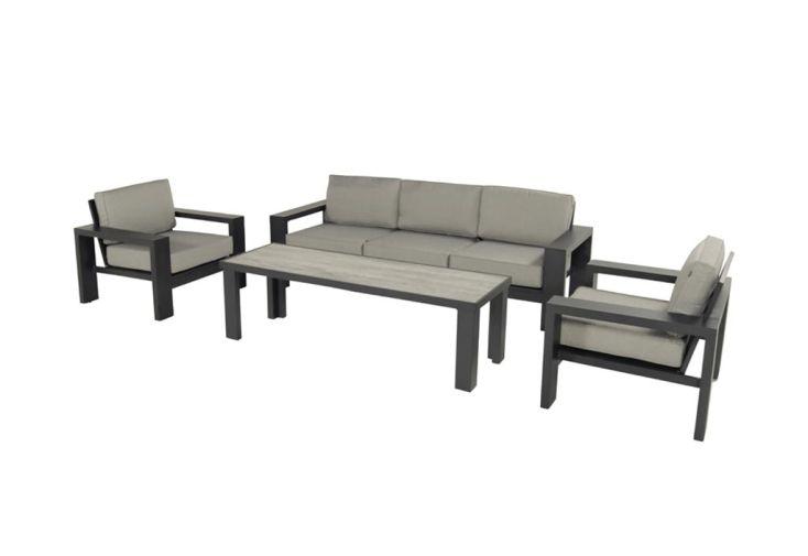 Salon de jardin 5 places mobilier de jardin en aluminium Hartman Titan