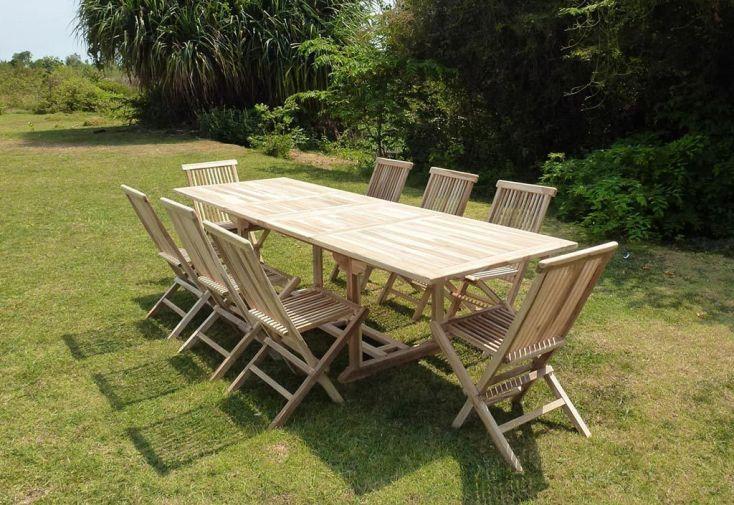 Salon de Jardin Bois Teck Table Extensible Rectangulaire 280 cm + 8 chaises