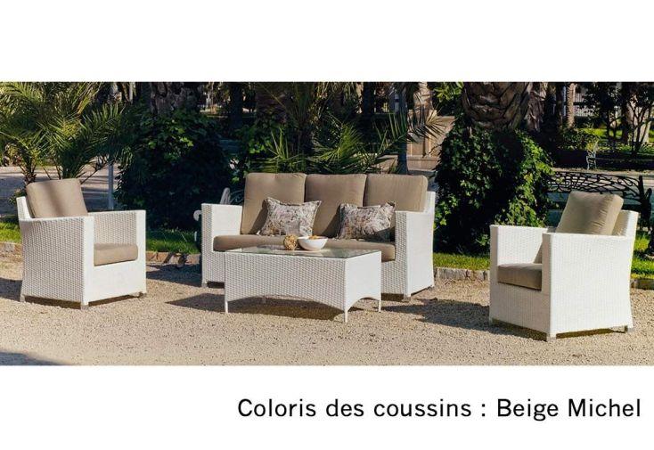 Salon de Jardin en Résine Tressée Blanc : Canapé, Fauteuils et Table