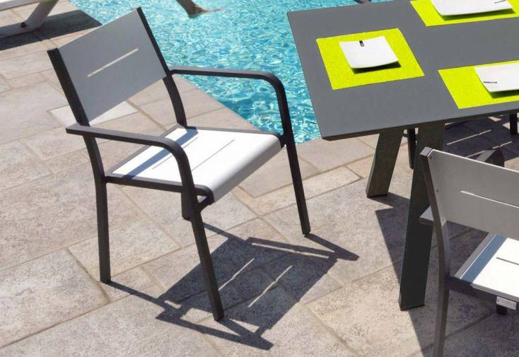 Salon de Jardin Aluminium Anthracite 6 Places Modigliani