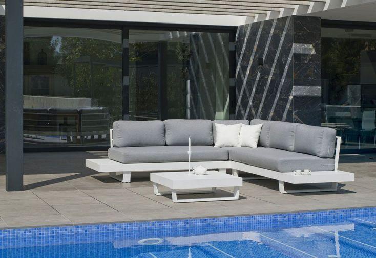 Salon de Jardin en Aluminium Anastacia : 1 Canapé d\'Angle et 1 Table ...
