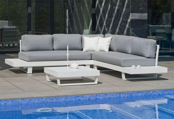 Salon de Jardin en Aluminium Anastacia : 1 Canapé d'Angle et 1 Table Basse