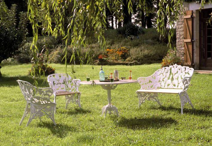 Fauteuil de Jardin Fonte d\'Aluminium et Bois Fougère - Dommartin