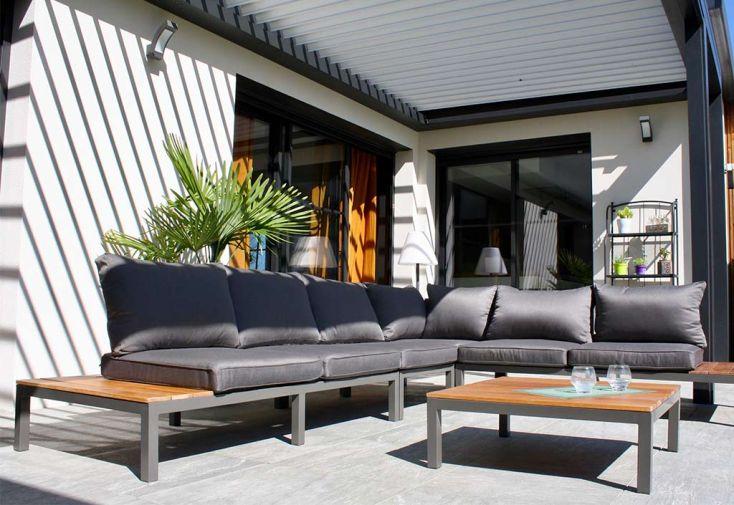Salon De Jardin 6 Places En Aluminium Et Bois De Teck Nagano Dcb