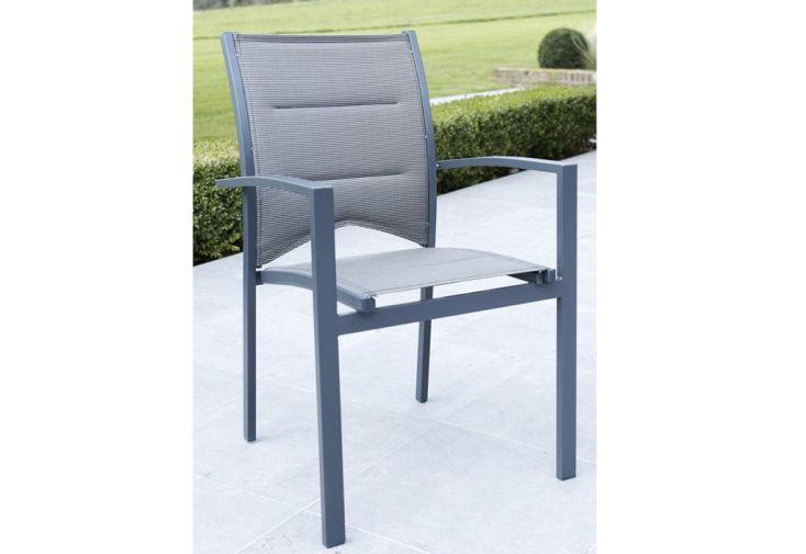 Salon de Jardin Modulo : Table Extensible + 4 Fauteuils + 4 chaises Gris