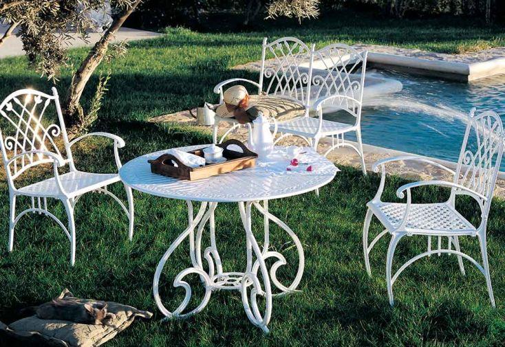 Salon de Jardin en Aluminium Puerto: 1 Table + 4 Fauteuils