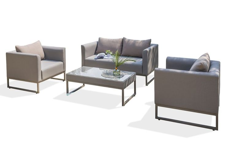 Salon de Jardin Aluminium et Textilène Calvi : 1 Canapé, 2 Fauteuils, 1  Table Basse
