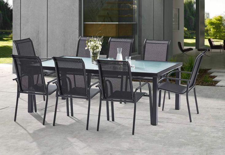 Salon de jardin alu et verre table 8 fauteuils 2 - Table jardin alu et verre ...
