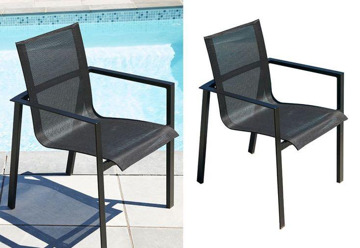 fauteuil de jardin en aluminium et textilène pour salon de jardin 6 personnes
