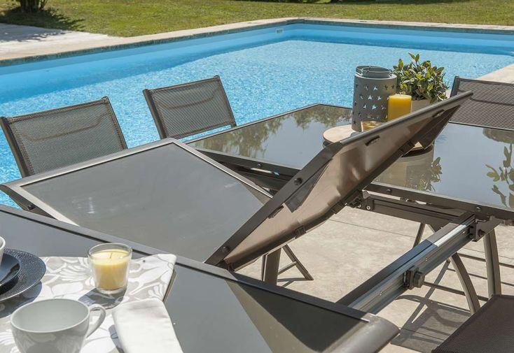 Salon de Jardin Cappuccino en Verre Table 240 cm + 6 Chaises - DCB ...