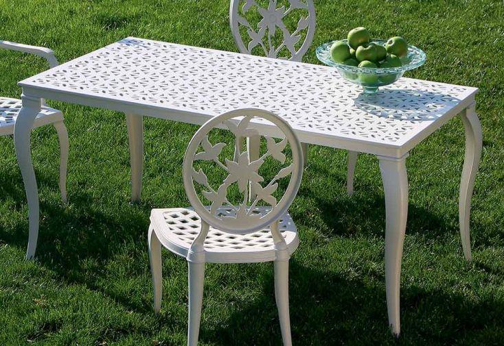 Salon de Jardin en Aluminium Versailles: 1 Table + 4 Chaises