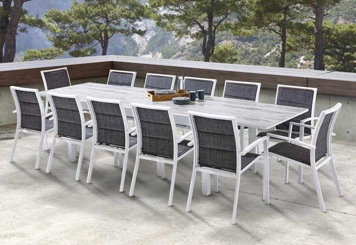 Salon de Jardin Aluminium : Table Extensible 200/320 cm + ...