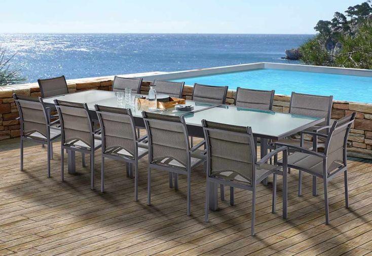 salon de jardin modulo table extensible 12 fauteuils