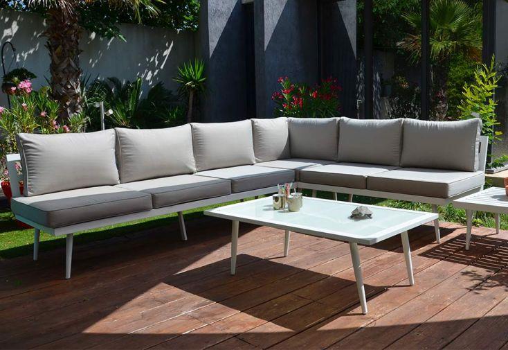 Salon De Jardin Bas D Angle En Aluminium Blanc 5 Places Boheme Givex