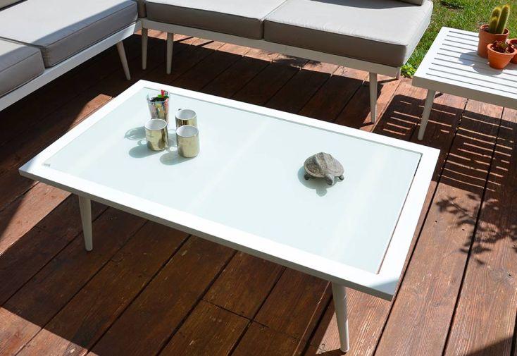 Salon de Jardin Bas d'Angle en Aluminium Blanc 5 Places Bohème
