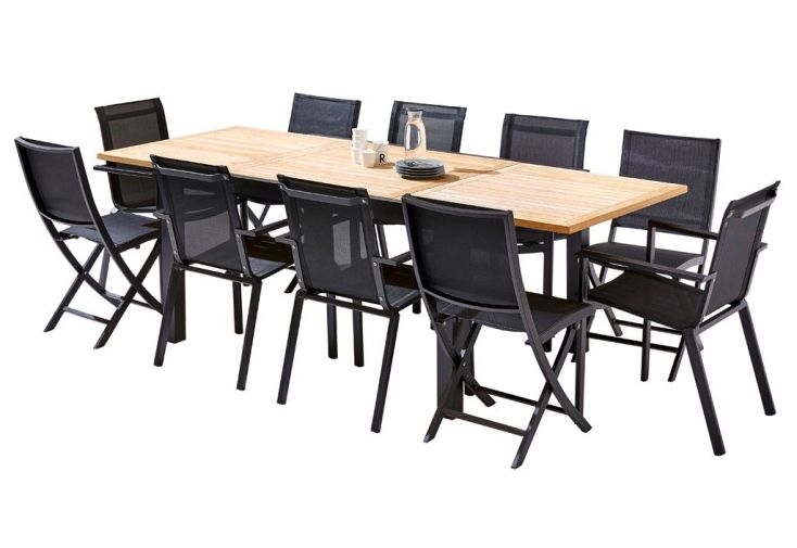 Salon de Jardin Bali : Table Extensible + 6 Fauteuils + 4 Chaises